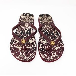 "Tory Burch Burgundy ""Jildor"" Flip Flop Sandals"